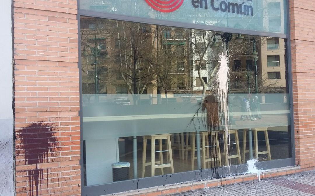 Zaragoza en común denuncia ataque vandálico a su sede
