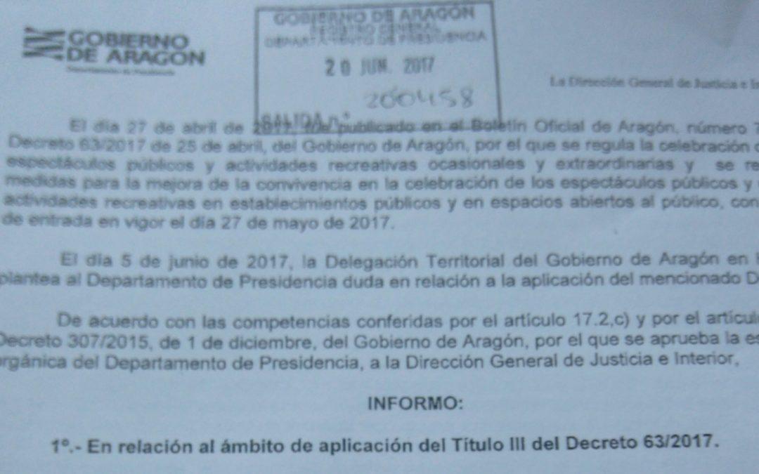 Nueva normativa del Gobierno de Aragón sobre fiestas y eventos.