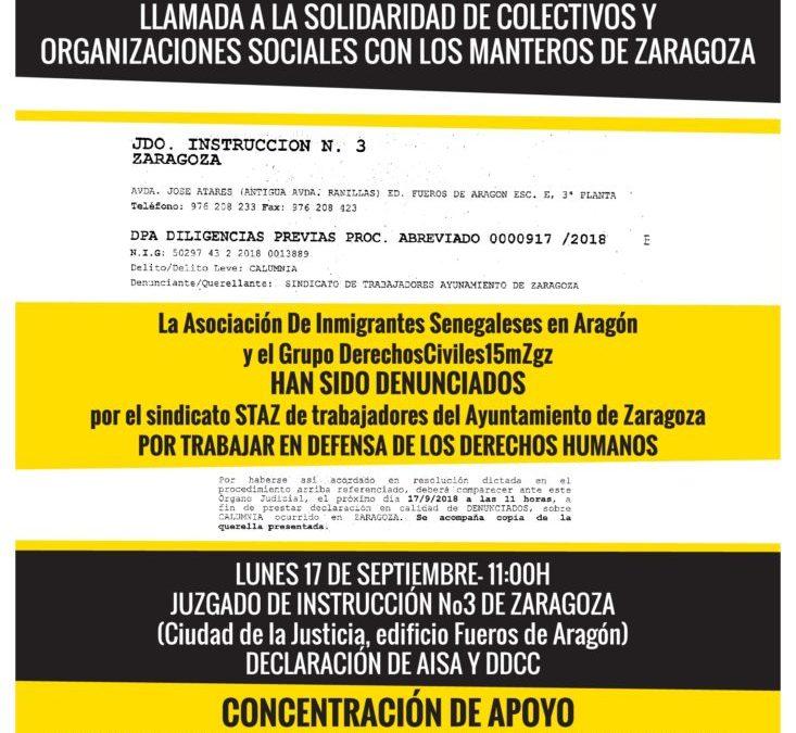 Nos sumamos a la solidaridad con los manteros de Zaragoza