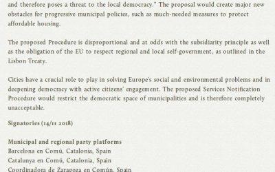 Firmamos la carta abierta contra el Procedimiento de Notificación de Servicios de la UE